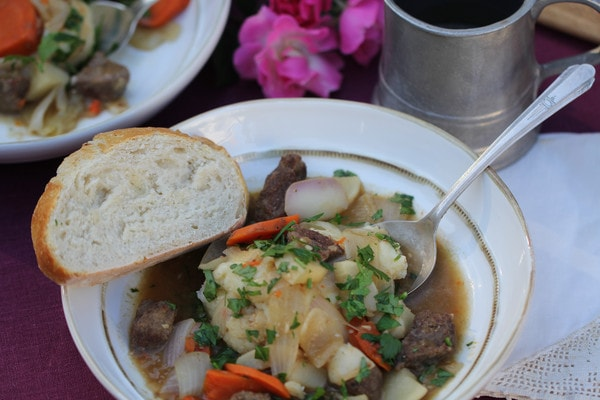 Beer-Braised Venison with Turnips, Carrots, and Onion