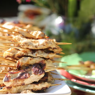 Garden Party/Skewered Turkey with Chili Ginger Sauce