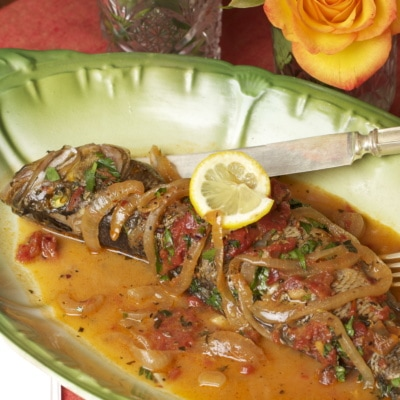 Whole Bass with Tomatoes