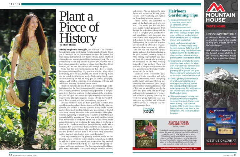 Field to Table Column in Living Ready Magazine by Stacy Harris