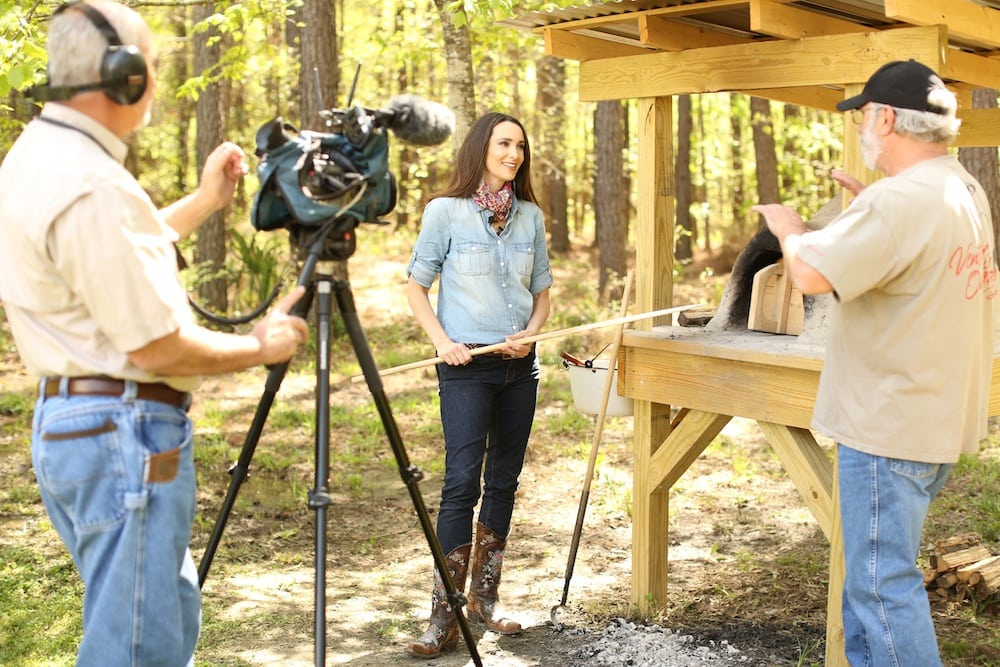 Stacy Harris Cooking in Earthen Oven on Venture Outdoor TV Show