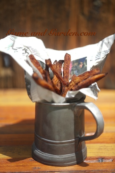 "Healthier Crispy ""Baked"" Sweet Potato Fries"