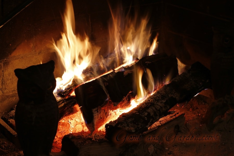 hot fire in fireplace