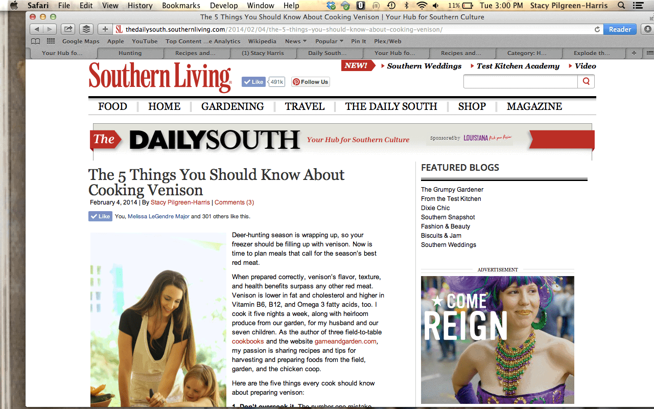I loved sharing my tips for preparing free-range venison for The Daily South - Southern Living!