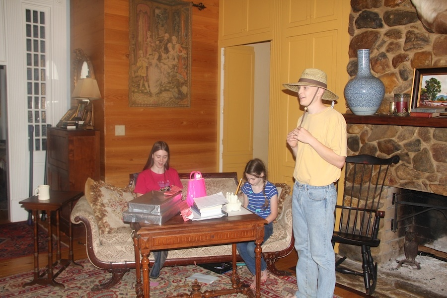 "The Birthday Kids having fun! Notice that Hunter has only opened his ""farm"" hat."