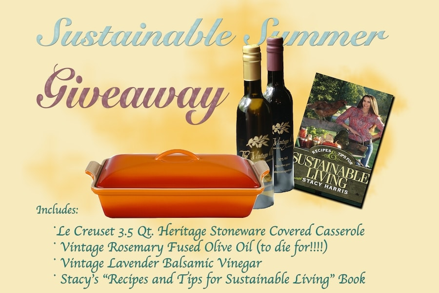 Sustainable Summer Giveaway. Enter now to win Le Creuset Heritage Stoneware Casserole Lavender Balsamic Vinegar Rosemary Fused Live Oil (to die for!!!!) Stacy's Book, Recipes and Tips for Sustainable Living