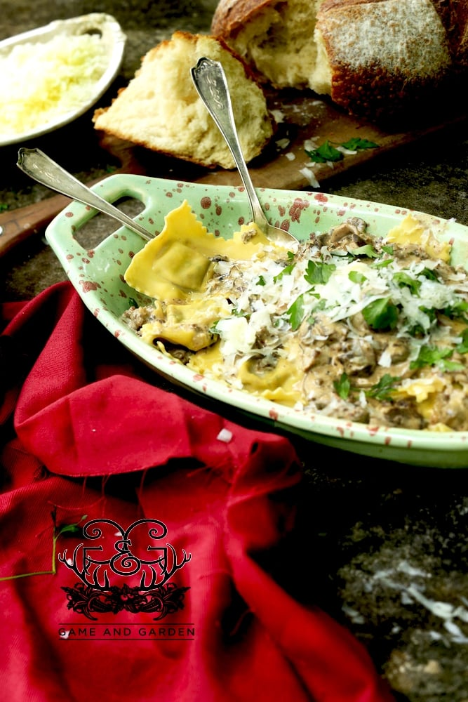 Homemade Sausage Ravioli with Mushroom Sauce - Once you make your own homemade pasta, it's hard to use the prepackaged. I still use it for convenience, but the homemade...wow!!