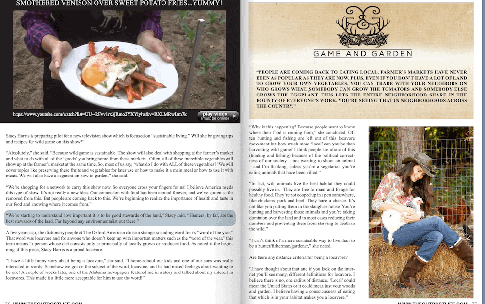 Stacy Lyn Harris - Feature Outpost Magazine - Lovacover/Sustainable Living Expert