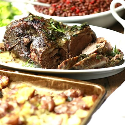 Roasted Lamb with Smashed Roasted Potatoes and Garlic