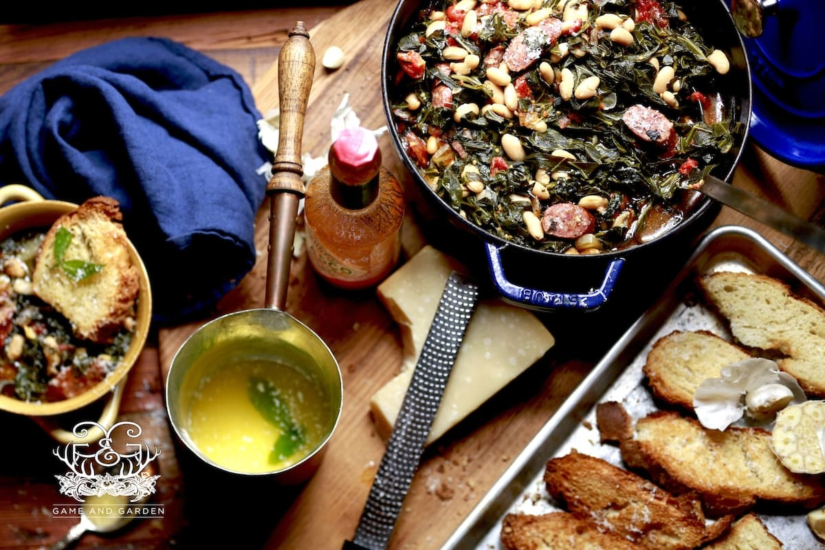 Comfort Food at it's best! This meal is not only healthy, but crazy with flavor!! Collards and Bean Soup!!