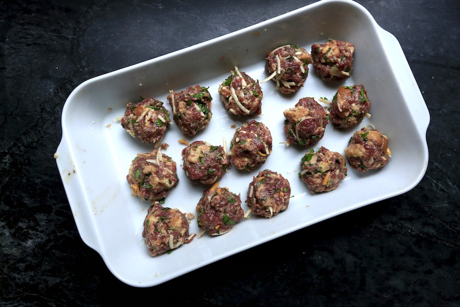 Venison has an earthy flavor perfect for the permeation of simple seasonings such as garlic, rosemary, and parsley. Pork is added to this recipe to add a bit more flavor and fat for the ideal rich, moist meatball possible.