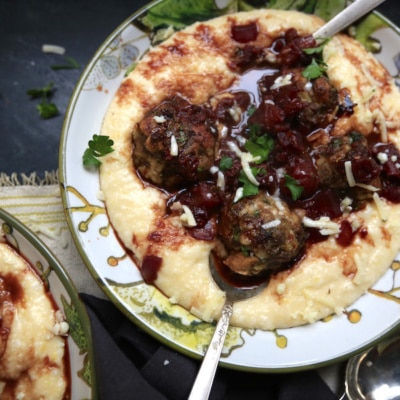 Meatballs with Rosemary Garlic Red Wine Sauce over Cheesy Polenta