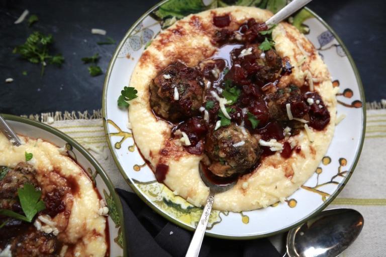 Meatballs with Rosemary Garlic Red Wine Sauce over Cheesy Polenta