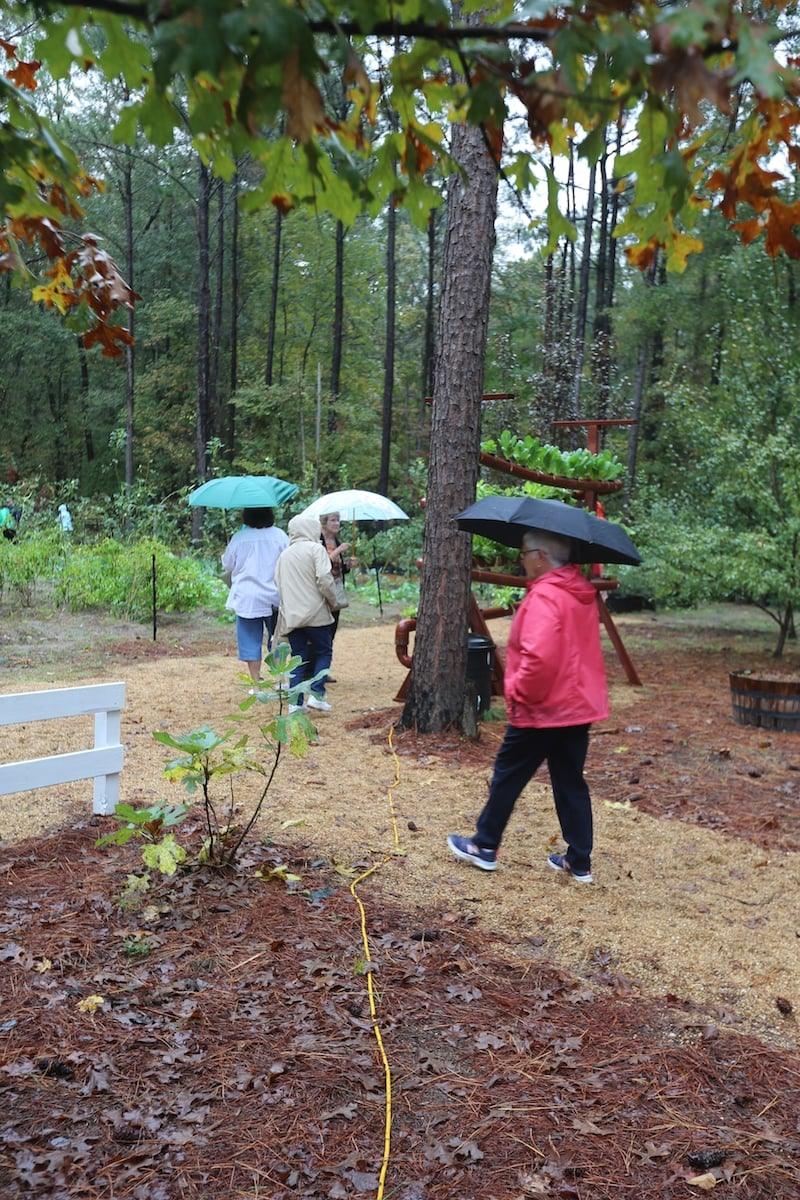 Rain never stops a true gardener. I thought the rain was going to put a damper on the garden tour, but I think it made it that much more fun.