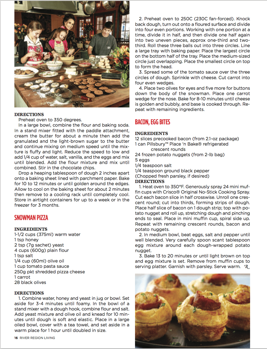 Stacy Lyn cooking in the kitchen with the kids for the holidays in River Region Living Magazine.