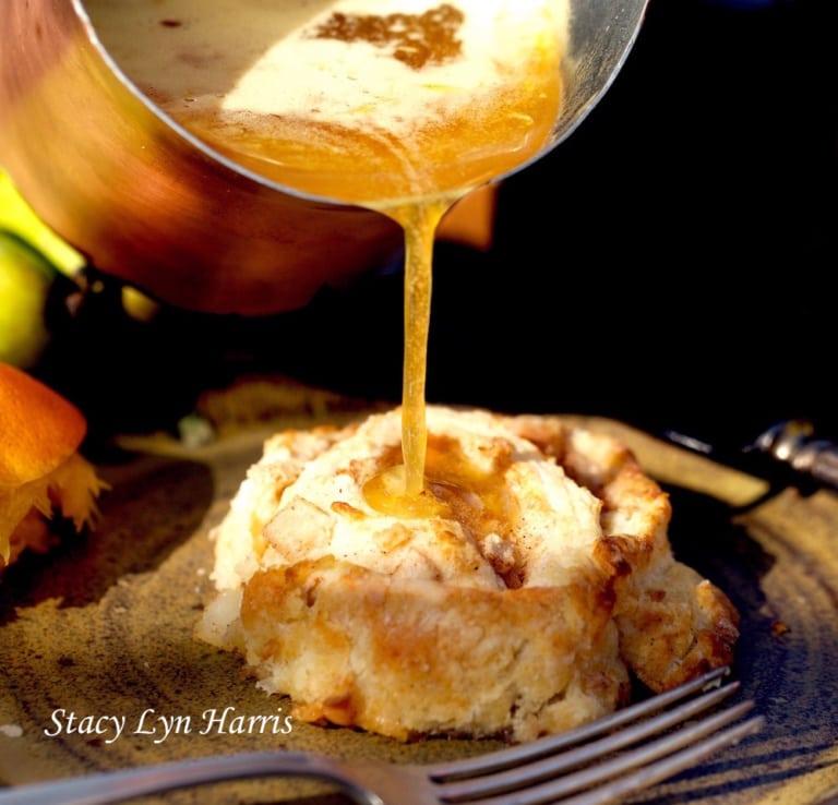 Cinnamon Pear Buns with Honey Bourbon Sauce