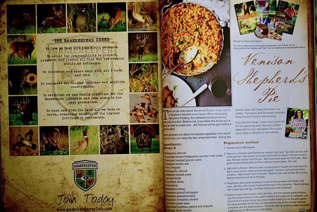 Venison Shepherd's Pie is not only gorgeous, but easy and super tasty. I hope everyone who received Gamekeepers Magazine tried it! You can find this recipe in Stacy Lyn's Harvest Cookbook!