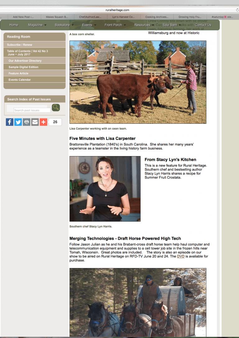 Stacy Lyn Harris: Segments on RFDTV's Rural Heritage TV Show