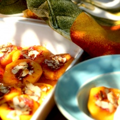 Baked Peaches with Honey and Almonds are spectacular for entertaining or dinner with your family.
