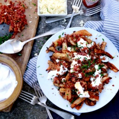 Turnip Root Loaded Baked Fries