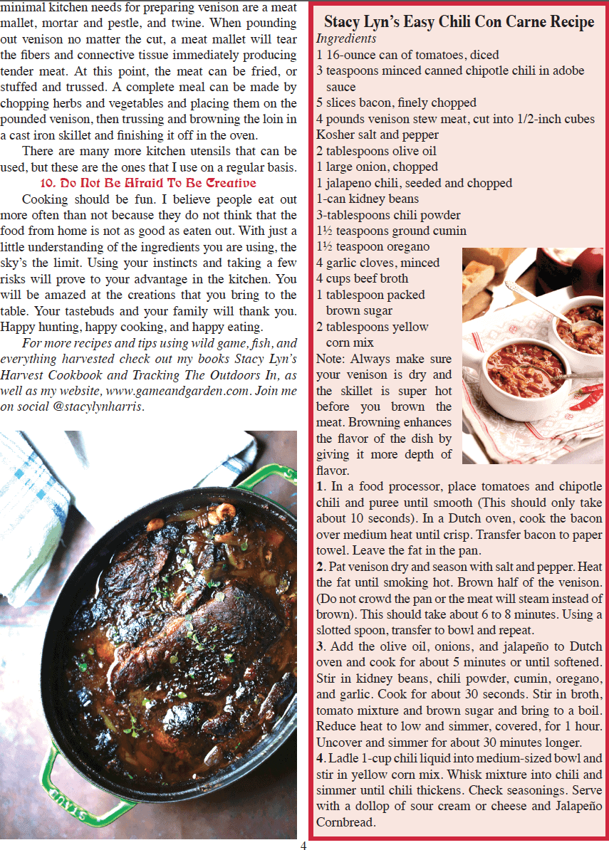 Stacy Lyn's Award Winning Chili in Backwoodsman Magazine