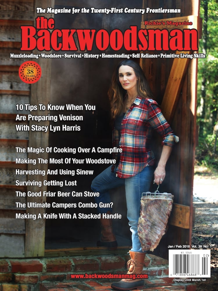 Stacy Lyn Harris on the cover of Backwoodsman Magazine.