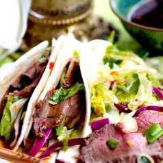 asian inspired venison tacos