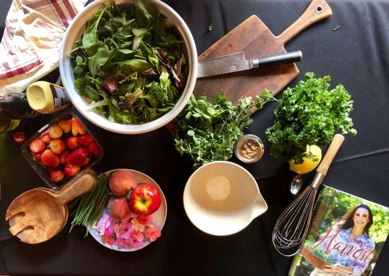 Herb Salad With Edible Flowers and Simple Vinaigrette