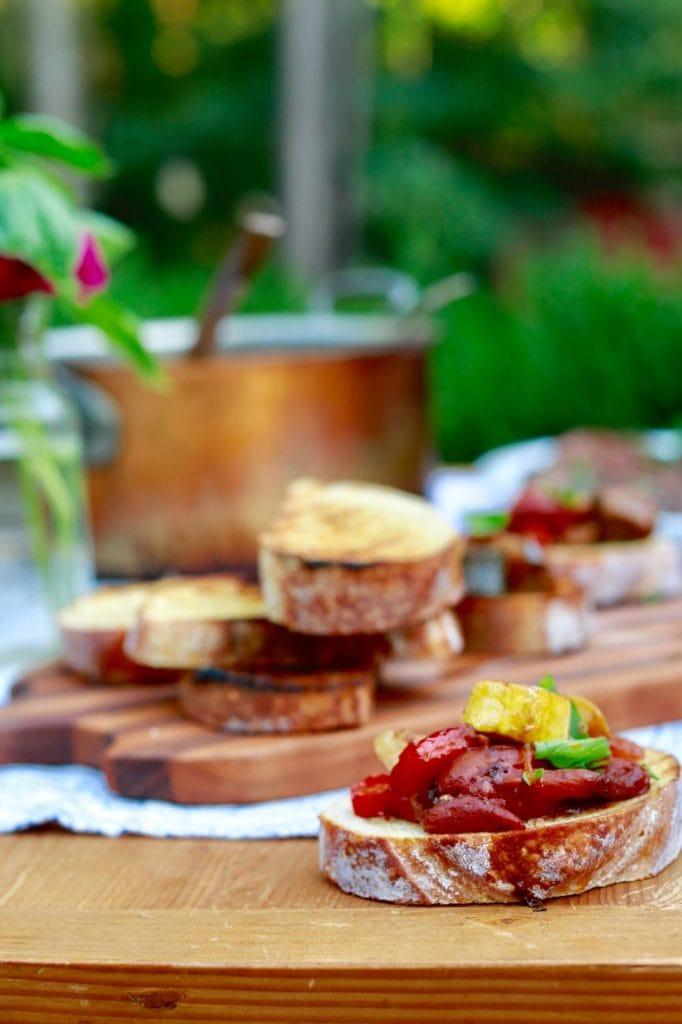Ratatouille plated on sourdough bread as a spread