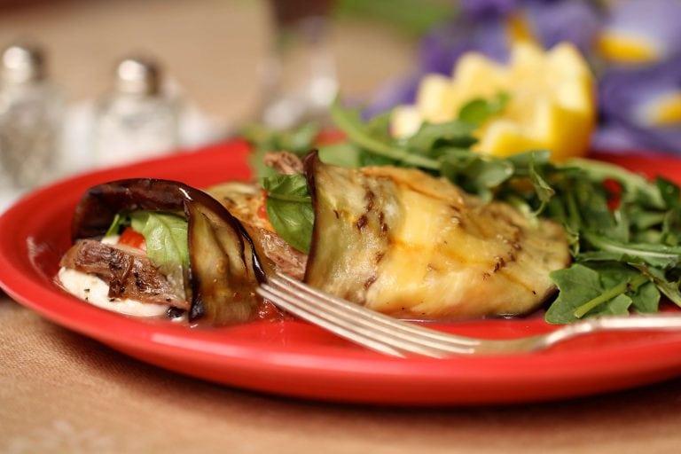 Eggplant Venison Mozzarella Wraps