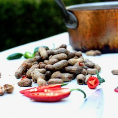 Southern-style boiled peanuts spiced with jalapeños