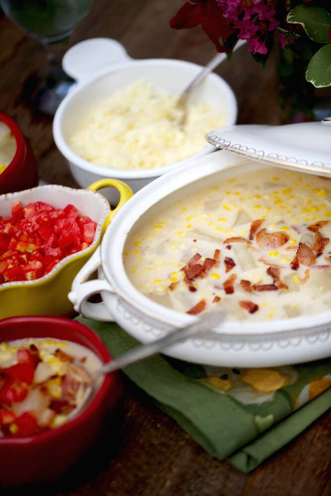Stacy Lyn corn chowder recipe, perfect for Thanksgiving or Christmas