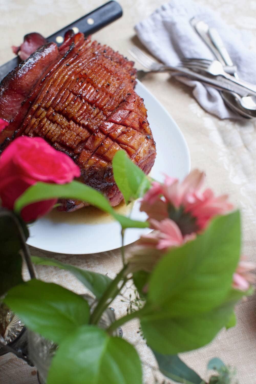 Spiral cut fresh cured ham with easy ham glaze recipe