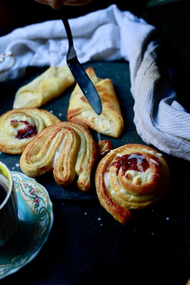 Recipe for Danish pastries by Stacy Lyn, with instructions for spiraled danish pastries and danishes with cream, pastry, or jelly filling.