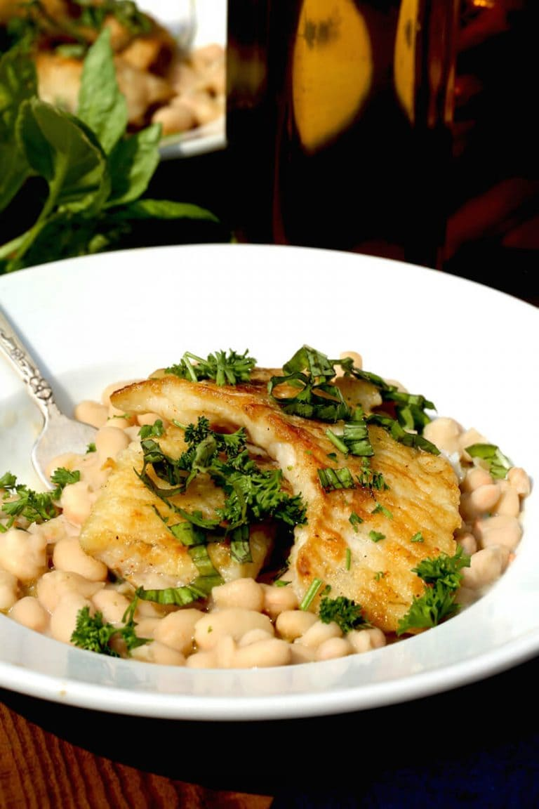 Crappie with White Beans and Basil