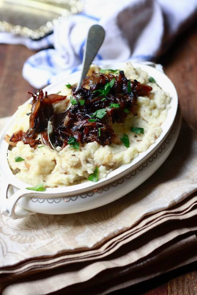 Horseradish-dijon mashed potatoes with caramelized onions, recipe by Stacy Lyn Harris