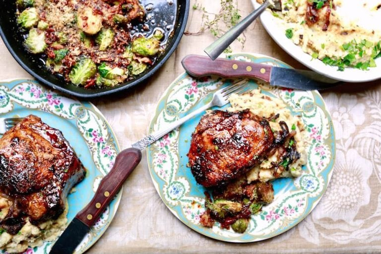Spinach and Mozzarella Stuffed Pork Chops with Dijon Glaze