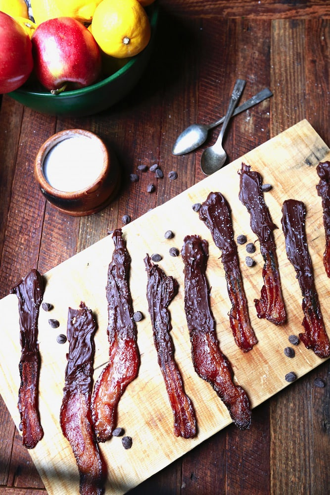 Sweet and Salty Chocolate-Dipped Candied Bacon appetizer, recipe by stacy lyn harris