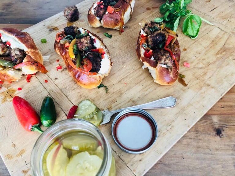 Venison Meatball Rolls with Horseradish Mayonnaise