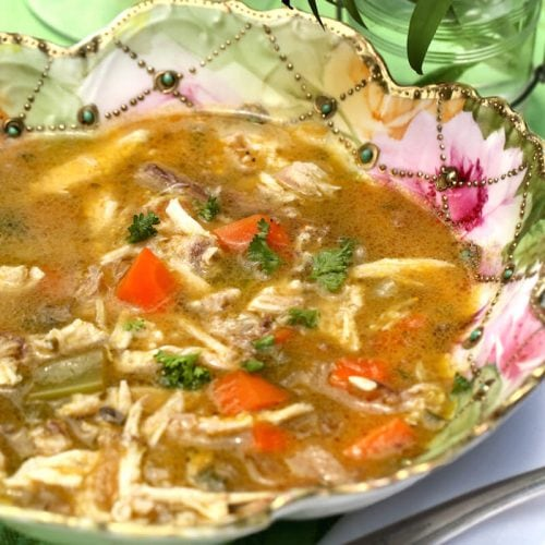 Healthy Chicken Soup with homemade chicken stock, recipe by Stacy Lyn Harris from her Harvest Cookbook