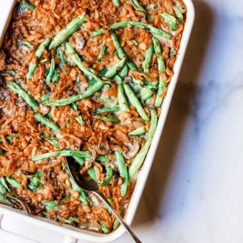 """Photo of a pan or tray of green bean casserole, from Stacy Lyn Harris's recipe for """"Green Bean Casserole"""" Christmas 2019"""