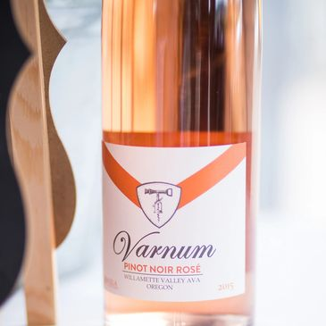 Pinot Noir Rose from Varnum Vintner wines in Oregon Wine Country, said to be great paired with fried chicken