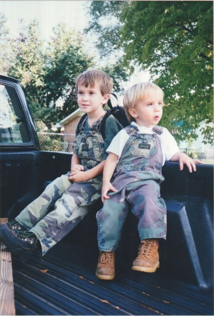 Scrapbook photos of Stacy Lyn Harris's children when they were young, sons hanging out in the truck