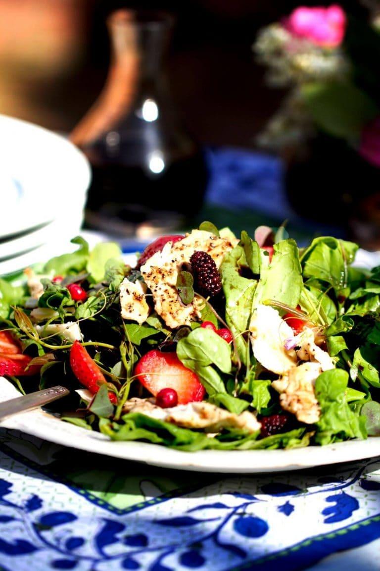 Wild Turkey Salad with Dandelion Greens, Wood Sorrel, Greenbrier and Balsamic Herb Vinaigrette