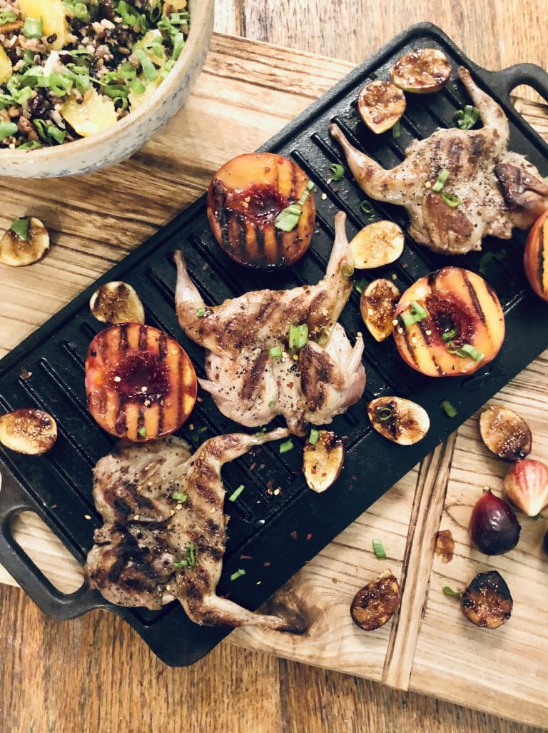 Grilled Quail with Caramelized Peaches and Figs