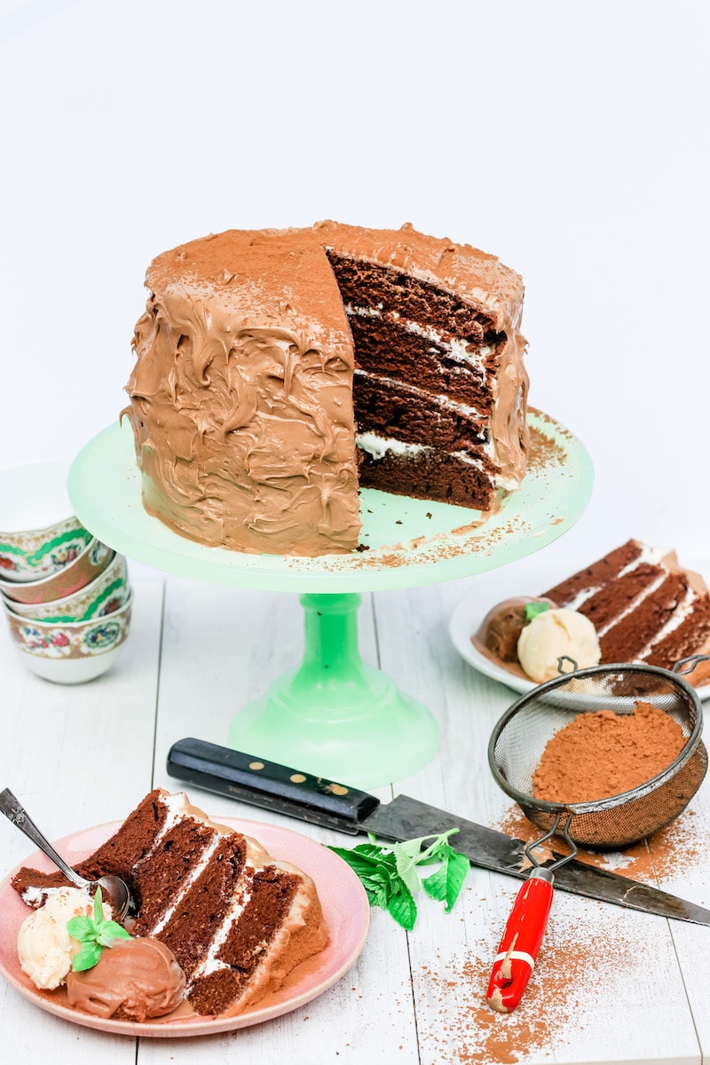 Cappuccino Cake with Buttercream Layers and Cappuccino Cake on a green cake stand with pink plates with sliced cake and chocolate ice cream and a stack of coffee cups on the left side and cocoa powder on the right