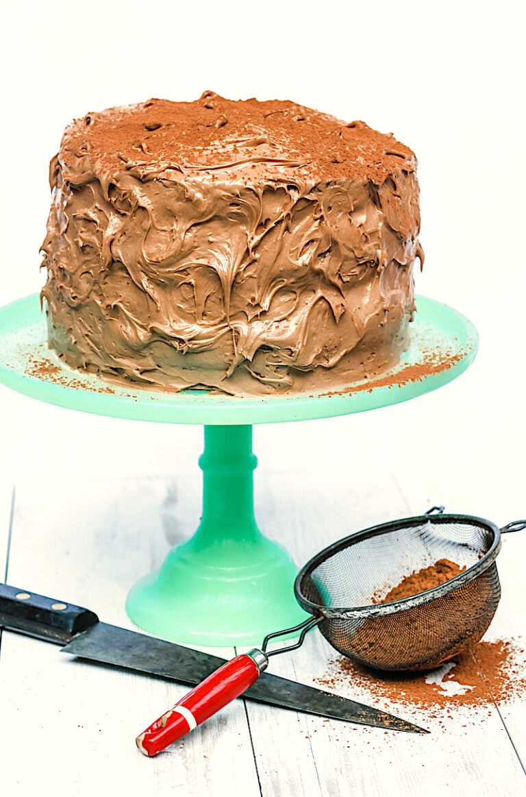 Cappuccino Cake with Buttercream Layers and Cappuccino Frosting