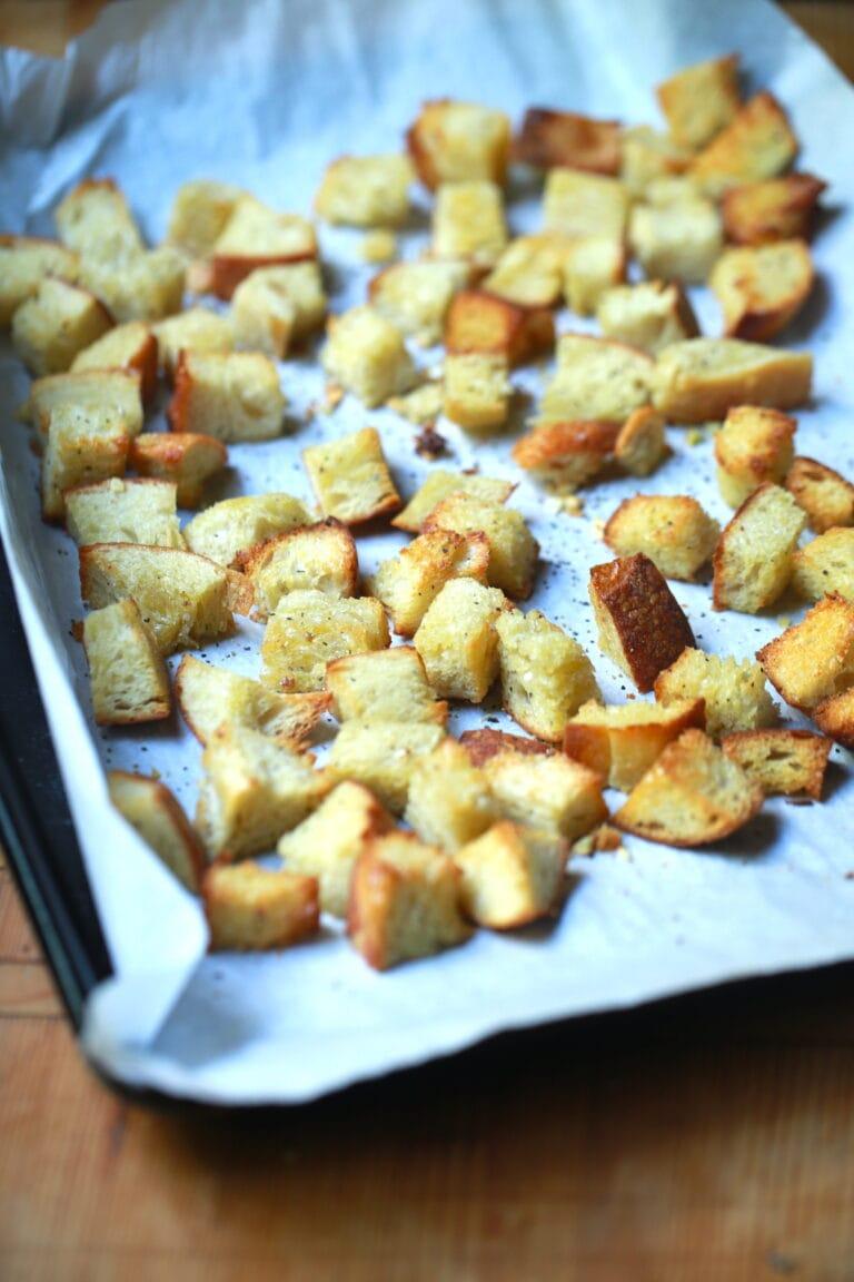 Crusty, Chewy Sourdough Croutons