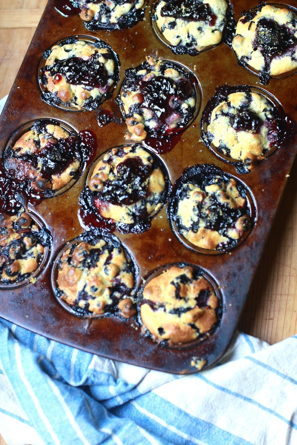muffins in muffin tin, fresh from oven