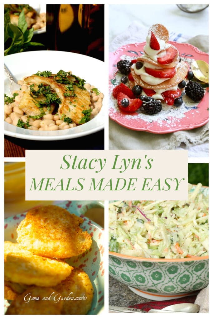 Stacy Lyn's Meals Made Easy: white crappie with beans, coleslaw, cornbread, and strawberry shortcake.